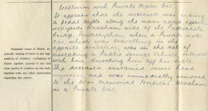 Datganiad ffurfiol, papurau crwneriaid 1936. CRD/1693
