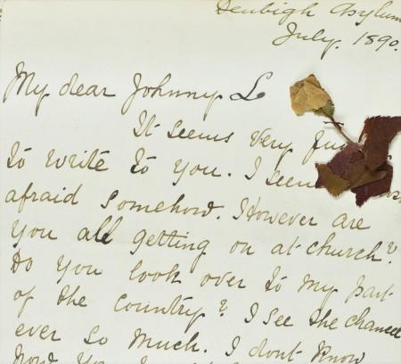 Llythyr a ysgrifennwyd gan Ann at ei hathrawes gerddoriaeth ym mis Gorffennaf 1890, gan gynnwys blodyn wedi'i wasgu.