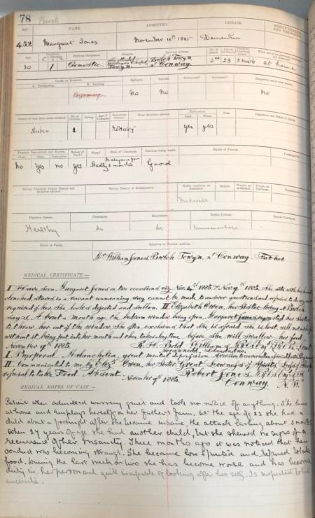 Ffeil achos 1885, claf sydd wedi cael diagnosis o ddementia